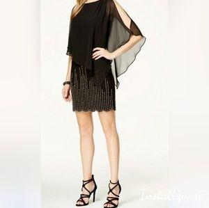 Xscape Chiffon Batwing Blouson Beaded Dress Black